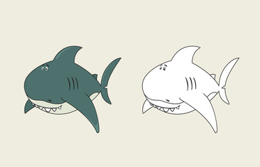 Friendly,funny looking cartoon shark.coloring book illustration