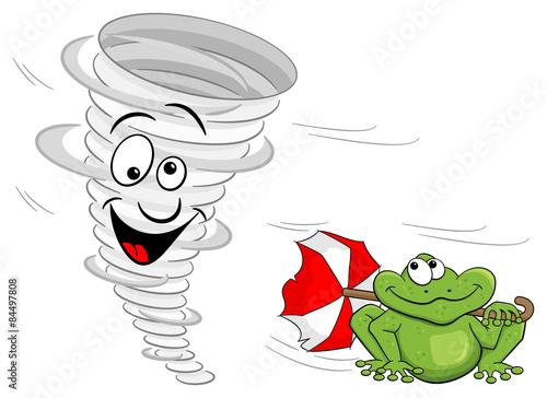 Quot cartoon tornado mit wetter frosch stockfotos und