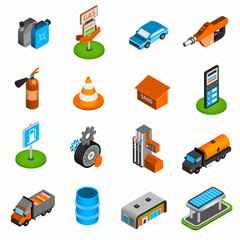Gas station elements isometric icons