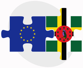 European Union and Dominica Flags in puzzle