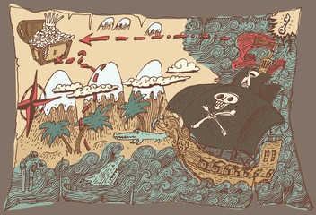 Island Treasure Map, Engaved Illustration