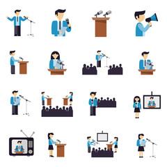 Public Speaking Icons Flat