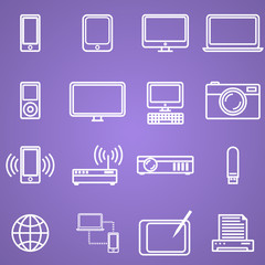 Gadgets and technology icons set, linear style. Vector illustration in simple line design.