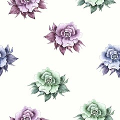 Seamless floral background. Roses pattern. Watercolor flowers.