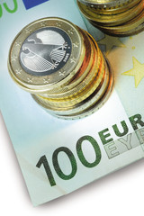 Euro coins and notes - Close up