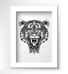 black drawing head tiger drawing with the opened fall in white m