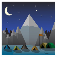 Mountain camp at night. Flat design vector illustration