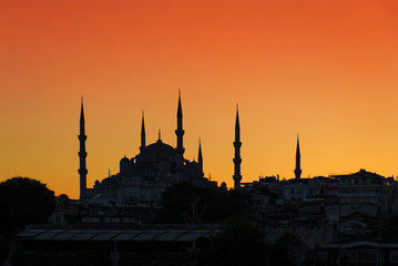 Blue (Sultan Ahmed) Mosque silhouette at sunset, Istanbull, Turk