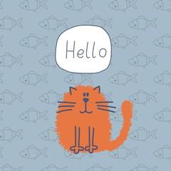 Happy cat vector card design