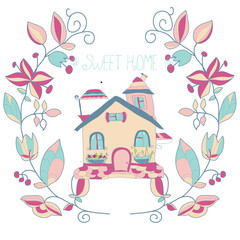 beautiful background with a house and wreath flower on white background