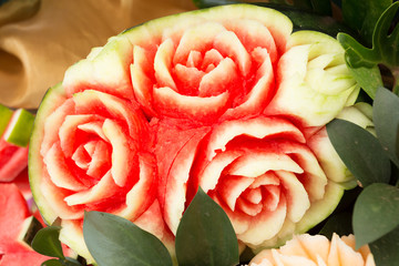 watermelon fruit carved shape beautiful rose flowers