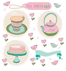 beautiful background with a set of drawings of the tea party