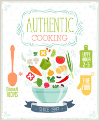 Wall Mural - Authentic cooking poster.