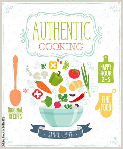 Wall mural Authentic cooking poster.
