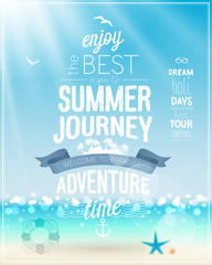 Wall Mural - Summer Journey poster with tropical background.