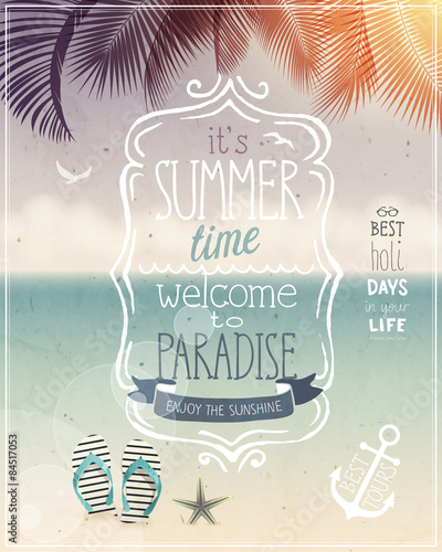 Wall mural Summer time poster.