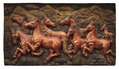 Low relief cement Thai style handcraft of horse cliping path.