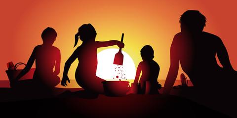 Vacances Plage Famille-couche de soleil