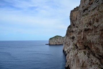 Sea view and stairways in Capo Caccia, Sardinia, Italy
