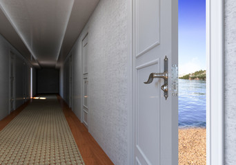 A open door to the Beach vacation concept background