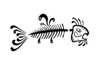 black fish bone, vector illustration