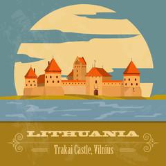 Lithuania landmarks. Retro styled image