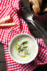 Delicious celery  cream soup in a bowl