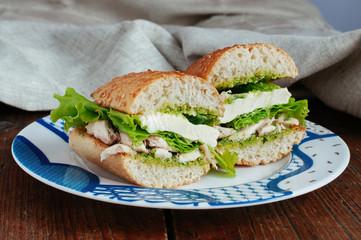 Health sandwich with pesto