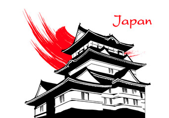 Japanese pagoda painting on white background vector