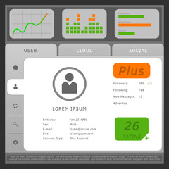 Vector illustration of web or mobile user interface, with tabs a