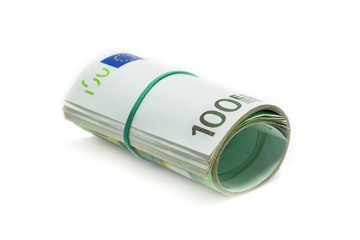 roll of 100 euro banknotes on white background