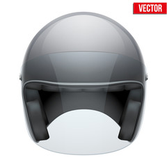 Black motorbike classic helmet with clear glass visor. Vector.