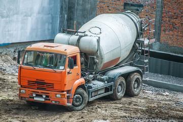 Concrete mixer truck at a construction site
