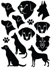 Set of black silhouetted dogs