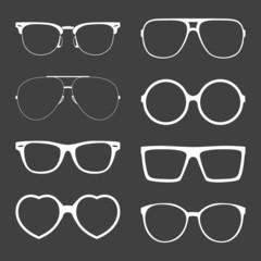 Vector set of white sunglasses frames