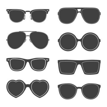 Vector set of sunglasses silhouettes