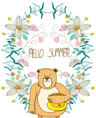 beautiful floral summer background with a bear