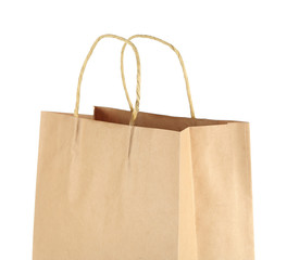 Shopping paper bag isolated on white