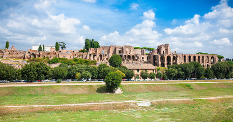 Wall Mural - Panoramic view of Circo Massimo ruins in Rome city centre Italy