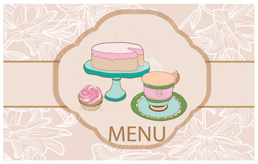picture cake with a Cup of tea and cake and inscription menu background colors