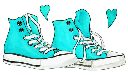 Watercolor blue mint turquoise sneakers pair hearts vector isolated