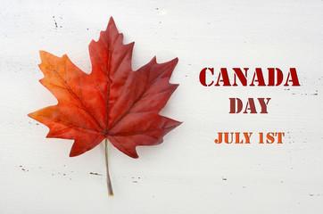Happy Canada Day red silk maple leaf