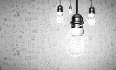 Energy saver bulb on white vignitting bussiness icon background