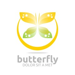 Logo Abstract Butterfly Design Flying