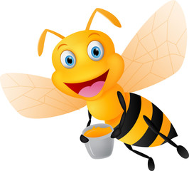 happy bee cartoon with honey