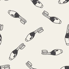toothbrush doodle seamless pattern background