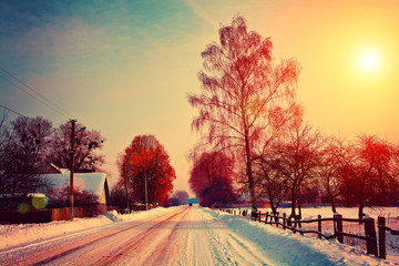Foto op Aluminium Zwavel geel Rural winter landscape