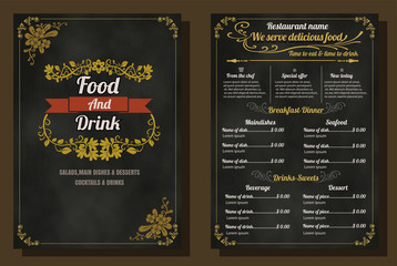 Restaurant Food Menu Vintage Design with Chalkboard Background