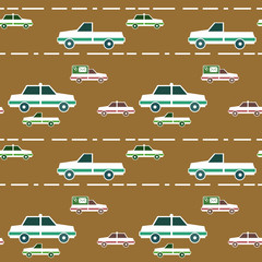 Seamless pattern with cartoon cars and road