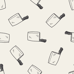 Kitchen knife doodle seamless pattern background
